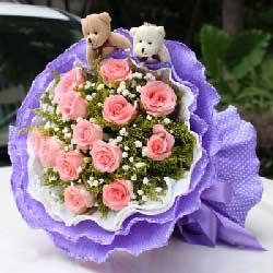 粉玫瑰13枝/相互牵挂的心