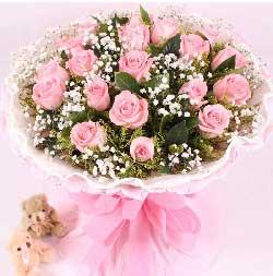 甜蜜相伴/19枝粉玫瑰