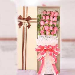 18枝粉玫瑰/爱情港湾
