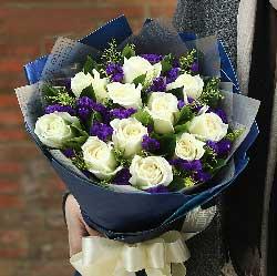 香槟玫瑰99枝/把��暖暖地融化:此生不换/12枝白色玫瑰
