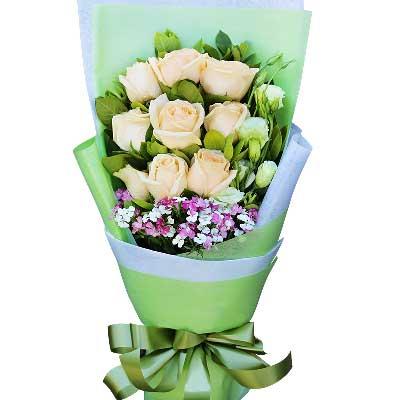 爱是一辈子的承诺/9枝香槟玫瑰