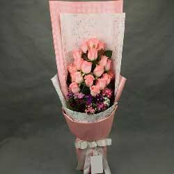 包容你的一切,只为与你在一起/粉玫瑰18枝