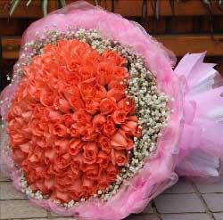 99枝粉玫瑰/我爱你,一生不变。