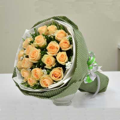 香槟玫瑰19枝/我们的亲情是包贯生命壹直的