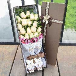 好运无限/3枝向日葵,9枝香槟玫瑰:香槟玫瑰20枝/祝您身体健康,幸福永远!