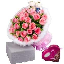玫瑰33枝+巧克力/我想你!祝你越来越漂亮!