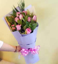 爱永恒/12枝粉玫瑰:9枝粉玫瑰/心意
