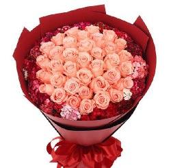 有你就有幸福/33枝粉玫瑰