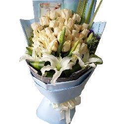 19康乃馨+百合/母亲,您辛苦了:我的爱,收下吧/33枝香槟玫瑰