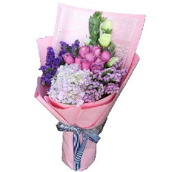 爱,莫相忘/9枝粉色玫瑰,1个绣球花,白色桔梗
