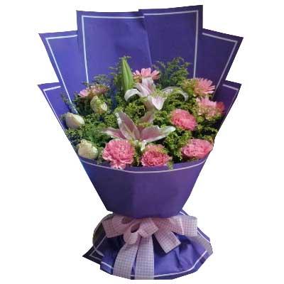 远方的祝福带给你/5枝康乃馨,5枝扶朗,5枝白色玫瑰