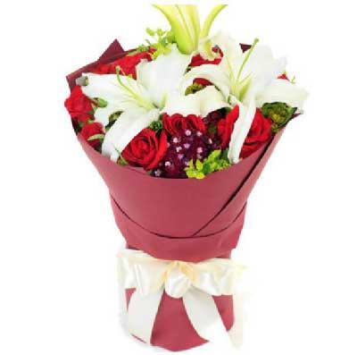 11枝红玫瑰百合/一生风雨携手,幸福一生
