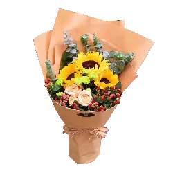 愿你一切称心如意/3枝向日葵、3枝香槟玫瑰