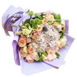 99枝康乃馨/母爱:生命中有你真好/20枝香槟玫瑰,紫色绣球花1个