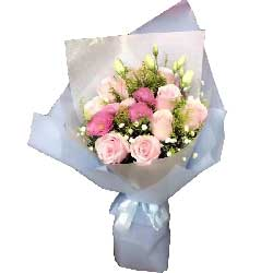 遇见你美妙无比/9枝粉色玫瑰、3枝紫色玫瑰