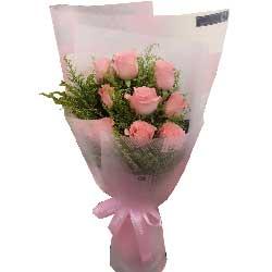 幸福之花/9枝戴安娜粉色玫瑰