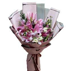 向最可爱的人致敬/6枝粉色多头香水百合