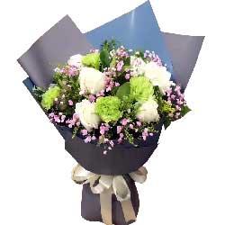 下辈子还爱你/9枝白色玫瑰,6枝绿色桔梗