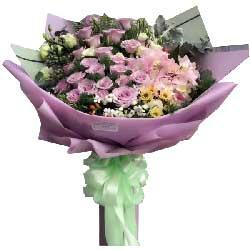 19枝粉玫瑰/深爱着你:我的爱伴随鲜花一起送到你手中/33枝紫色玫瑰