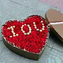温婉如诗/16枝玫瑰:99枝玫瑰礼盒/巧克力爱心