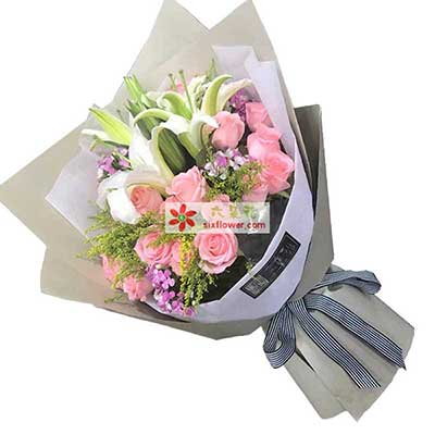 恩酷爱一齐生/17枝粉色玫瑰,2枝白色多头佰合