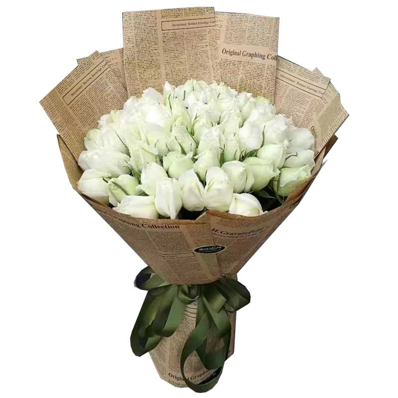 珍惜你对我的好/33枝白色玫瑰
