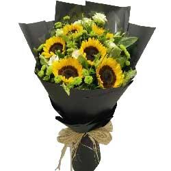 我爱您妈妈/5枝百合玫瑰:笑容天天有/6枝向日葵,6枝桔梗