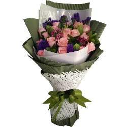 生生世世心不变/19枝粉色玫瑰