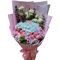 给您无限欢乐/12枝粉色玫瑰,2只绣球花