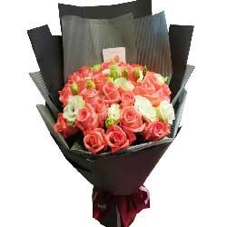 割不断的情/33枝粉玫瑰