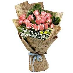 永不凋谢的谢意/16枝戴安娜粉色玫瑰