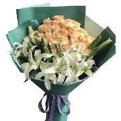 19枝玫瑰/我会照顾你一辈子:幸福永远/33枝香槟玫瑰百合