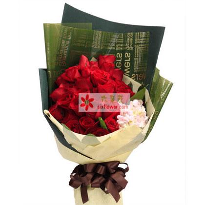 尽在不言中/33枝红玫瑰绣球花