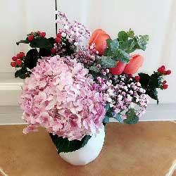 愿和你慢慢变老/6枝粉色玫瑰绣球