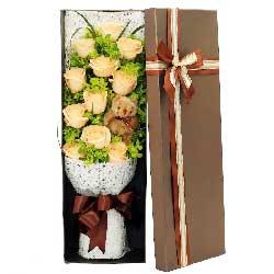 陪你一路远航/11枝香槟玫瑰礼盒