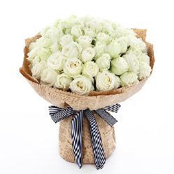 真心陪伴/99枝香槟玫瑰:心与心融为一体/白色玫瑰66枝