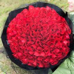 用心爱你/99枝优质玫瑰黑纱花束