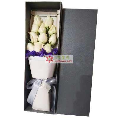 我的爱随你365天/11枝白色玫瑰礼盒