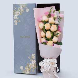 永远爱你的心/11枝香槟玫瑰礼盒