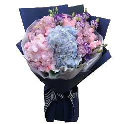 一生为你/19枝粉色玫瑰绣球花