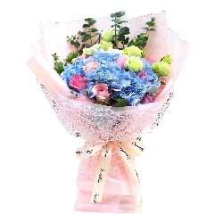 内心深处的爱/11枝粉色玫瑰+绣球花