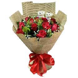 27枝玫瑰/永恒的纪念:你是我的快乐世界/11枝红色玫瑰