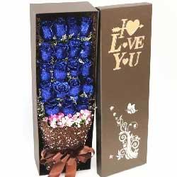 有你就好/19枝蓝色玫瑰礼盒