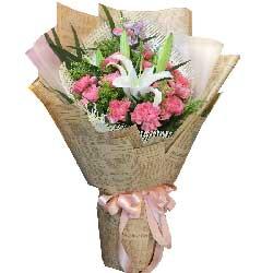 我要给您全部的幸福/12枝粉色康乃馨百合