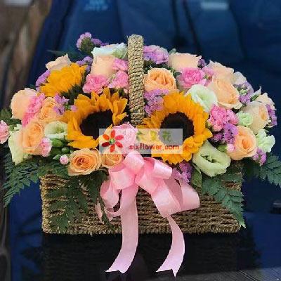 永远幸福/29枝香槟玫瑰,4枝向日葵花篮