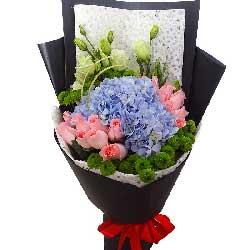 永恒之心/16枝粉玫瑰,2只蓝色绣球花