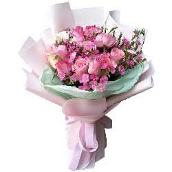永远呵护你/17枝粉玫瑰巧克力:只有你对我最好/11枝玫瑰