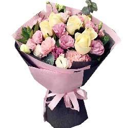 激荡人生/6枝香槟玫瑰,19枝粉色康乃馨