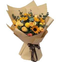 完美人生/6枝向日葵,11枝香槟玫瑰