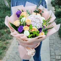 不轻言放弃/11枝香槟玫瑰,1枝粉色绣球花,3枝乒乓菊